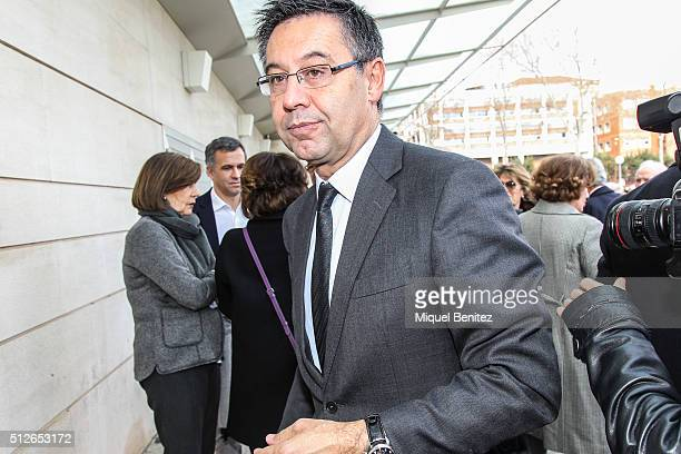 C Barcelona's President Josep Maria Bartomeu attends Emilio Sanchez Benito's funeral at Tanatori de les Corts on February 27 2016 in Barcelona Spain