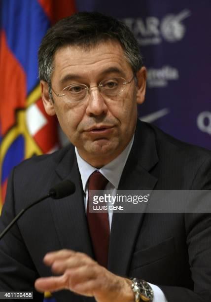 Barcelona's President Josep Maria Bartomeu gives a press conference at the Camp Nou stadium in Barcelona on January 7 2015 Bartomeu has called club...