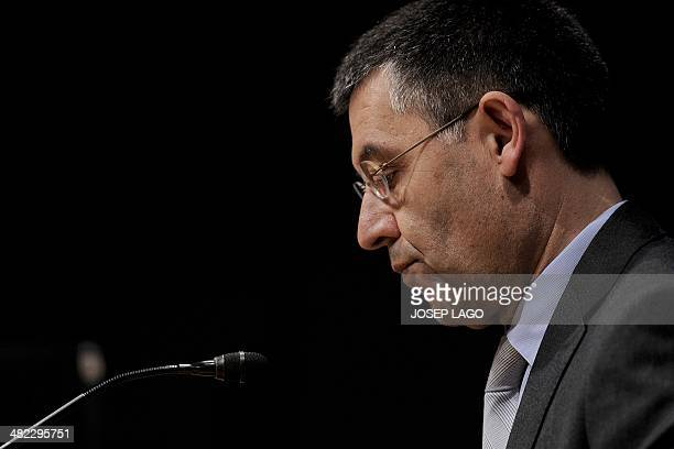 Barcelona's president Josep Maria Bartomeu holds a press conference in Barcelona on April 3 2014 at the Camp Nou stadium in Barcelona Barcelona are...