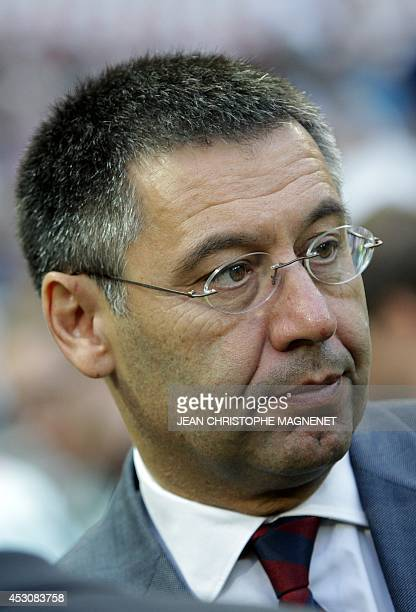 Barcelona's president Josep Maria Bartomeu looks on prior to a friendly football match Nice vs Barcelona on August 2 2014 at the Allianz Riviera...