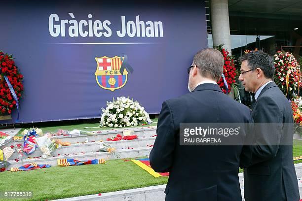 FC Barcelona's president Josep Maria Bartomeu pays tribute to late Dutch football star Johan Cruyff in a special condolence area set up at Camp Nou...
