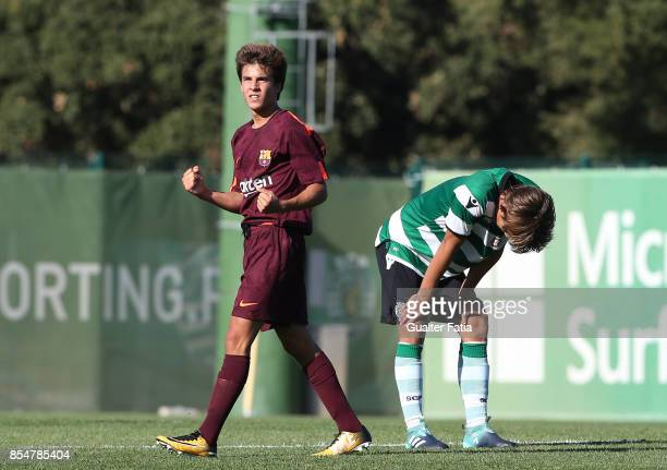 Barcelona's Ricard Puig celebrates the victory at the end of the UEFA Youth League match between Sporting CP and FC Barcelona at CGD Stadium Aurelio...