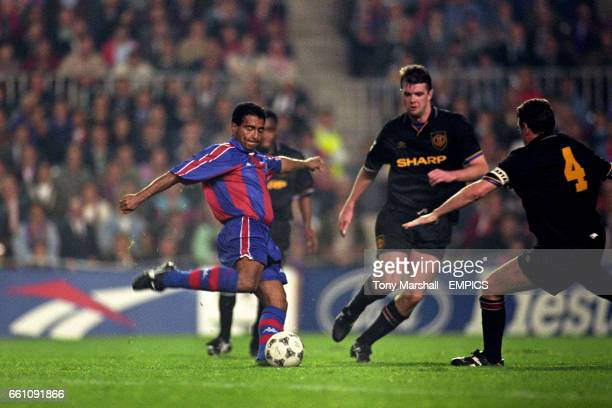 Barcelona's Romario fires his team's second goal past Manchester United's Steve Bruce and Gary Pallister