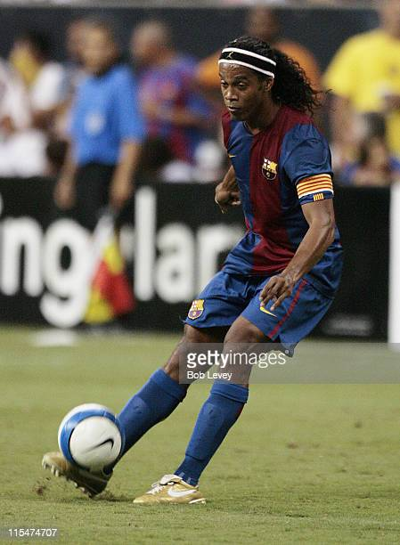 FC Barcelona's Ronaldinho connects on this penalty kick in the second half during friendly play between FC Barcelona and Club America Aug 9 2006 in...