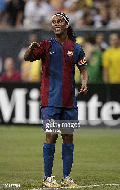 FC Barcelona's Ronaldinho pleads with the referee after he thought he was fouled on the play during friendly play between FC Barcelona and Club...