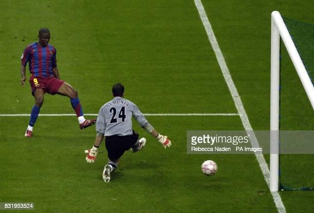 Barcelona's Samuel Eto'o scores against Arsenal during the UEFA Champions League final at Stade de France Paris France