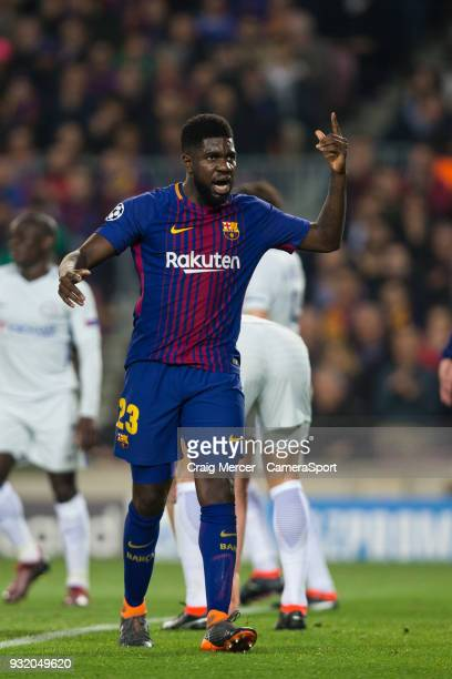 Barcelonas Samuel Umtiti reacts during the UEFA Champions League Round of 16 Second Leg match FC Barcelona and Chelsea FC at Camp Nou on March 14...