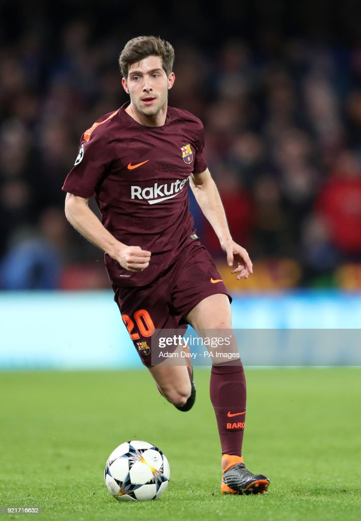 Barcelona's Sergi Garcia during the UEFA Champions League round of sixteen, first leg match at Stamford Bridge, London. PRESS ASSOCIATION Photo. Picture date: Tuesday February 20, 2018. See PA story SOCCER Chelsea. Photo credit should read: Adam Davy/PA Wire