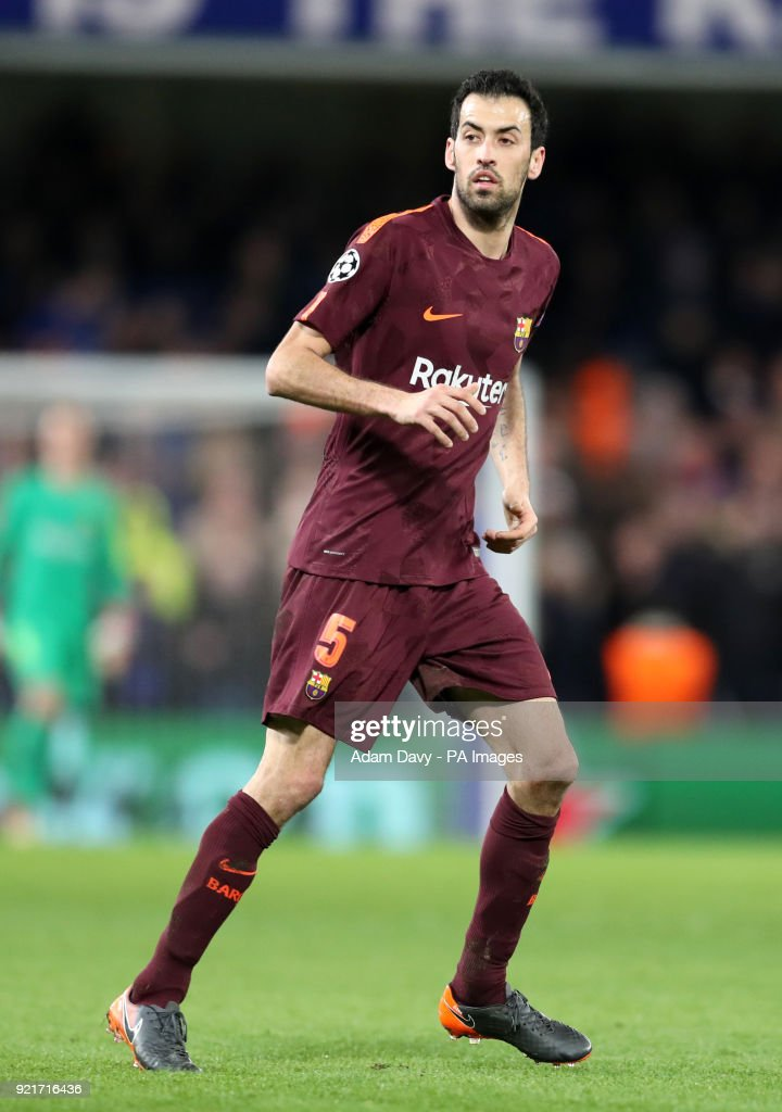 Barcelona's Sergio Busquets during the UEFA Champions League round of sixteen, first leg match at Stamford Bridge, London. PRESS ASSOCIATION Photo. Picture date: Tuesday February 20, 2018. See PA story SOCCER Chelsea. Photo credit should read: Adam Davy/PA Wire