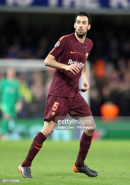 Barcelona's Sergio Busquets during the UEFA Champions League round of sixteen first leg match at Stamford Bridge London PRESS ASSOCIATION Photo...