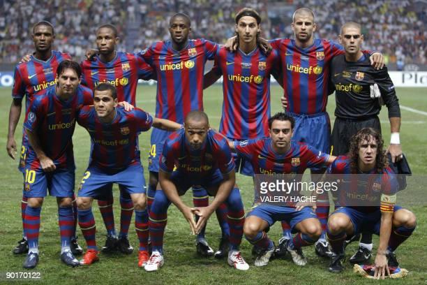Barcelona's Seydou Keita Eric Abidal Yay Toure Zlatan Ibrahimovic Gerard Pique Victor Valdes Lionel Messi Daniel Alves Thierry Henry Xavi Hernandez...