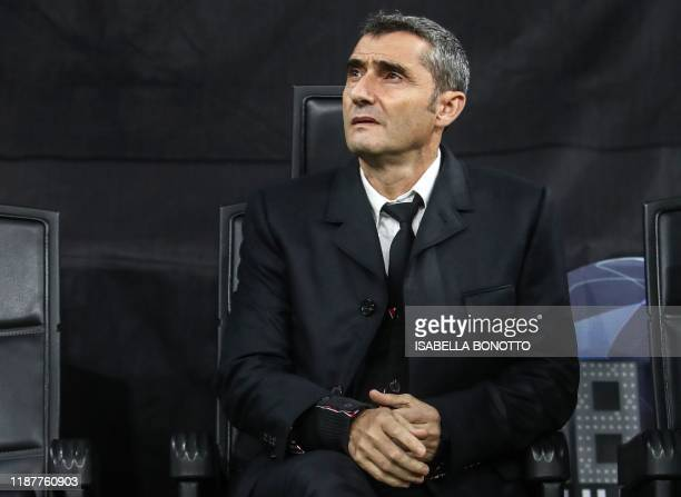 Barcelona's Spanish coach Ernesto Valverde attends the UEFA Champions League Group F football match Inter Milan vs Barcelona on December 10 2019 at...