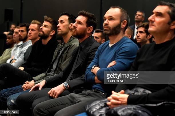 Barcelona's Spanish coach Ernesto Valverde Barcelona's Spanish midfielder Andres Iniesta Barcelona's Argentinian forward Lionel Messi Barcelona's...