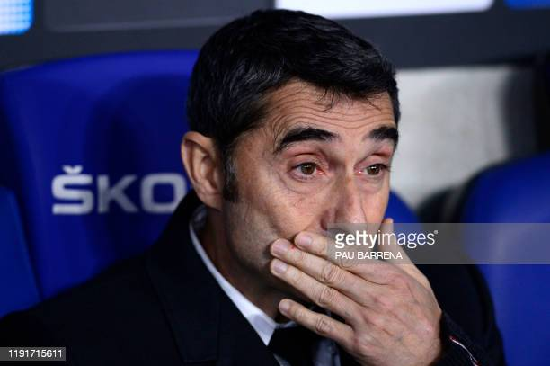 Barcelona's Spanish coach Ernesto Valverde looks on before the Spanish league football match between RCD Espanyol and FC Barcelona at the RCDE...