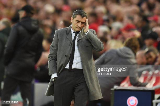Barcelona's Spanish coach Ernesto Valverde looks on during the UEFA Champions league semifinal second leg football match between Liverpool and...