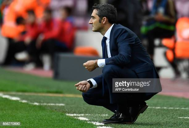 Barcelona's Spanish coach Ernesto Valverde reacts during the Spanish league football match FC Barcelona vs UD Las Palmas played behind closed doors...
