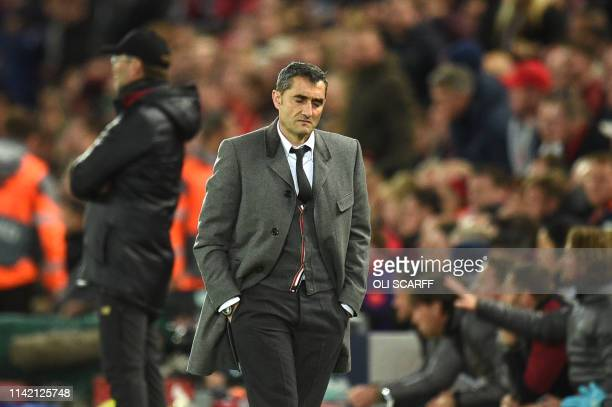 TOPSHOT Barcelona's Spanish coach Ernesto Valverde reacts during the UEFA Champions league semifinal second leg football match between Liverpool and...