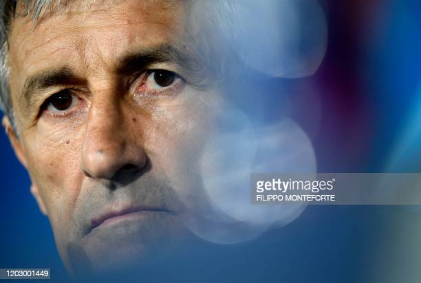 Barcelona's Spanish coach Quique Setien attends a press conference at San Paolo stadium in Naples on February 24 a day ahead of the UEFA Champions...