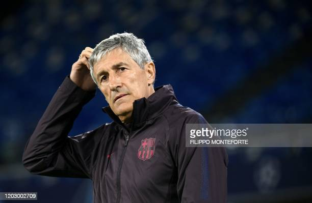 Barcelona's Spanish coach Quique Setien attends a training session at San Paolo stadium in Naples on February 24 a day ahead of the UEFA Champions...