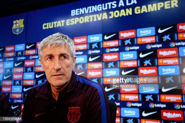 Barcelona's Spanish coach Quique Setien holds a press conference at the Joan Gamper training ground in Sant Joan Despi in the outskirts of Barcelona...