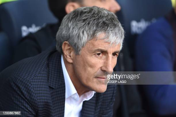 Barcelona's Spanish coach Quique Setien looks on before the Spanish league football match between FC Barcelona and Getafe CF at the Camp Nou stadium...