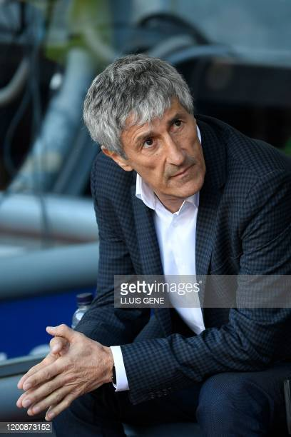 Barcelona's Spanish coach Quique Setien looks the Spanish league football match between FC Barcelona and Getafe CF at the Camp Nou stadium in...
