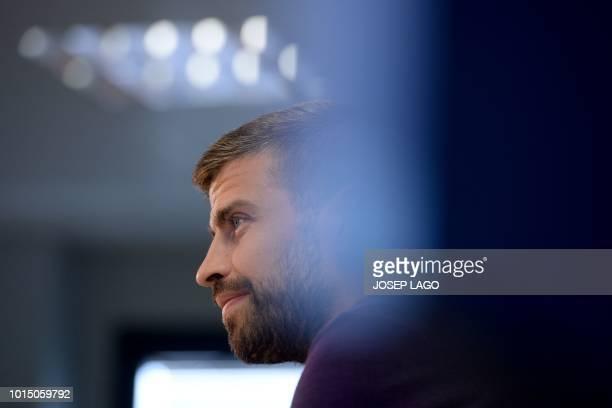 Barcelona's Spanish defender Gerard Pique holds a press conference at the FC Barcelona 'Joan Gamper' sports centre in Sant Joan Despi near Barcelona...