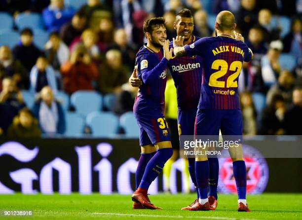 Barcelona's Spanish forward Jose Arnaiz celebrates a goal with teammates during the Spanish Copa del Rey football match RC Celta de Vigo vs FC...