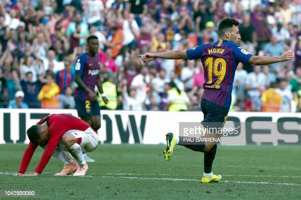Barcelona's Spanish forward Munir El Haddadi celebrates scoring a goal during the Spanish league football match between FC Barcelona and Athletic...