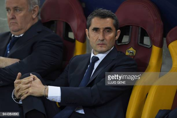 FC Barcelona's Spanish head coach Ernesto Valverde looks on prior to the UEFA Champions League quarterfinal second leg football match between AS Roma...