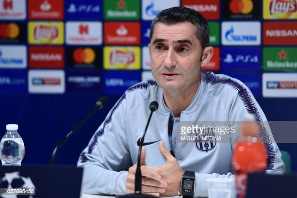 Barcelona's Spanish head coach Ernesto Valverde speaks during a press conference on November 5 2018 at San Siro stadium on the eve of the UEFA...