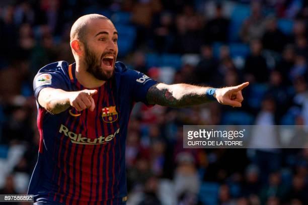 Barcelona's Spanish midfielder Aleix Vidal celebrates after scoring during the Spanish League Clasico football match Real Madrid CF vs FC Barcelona...