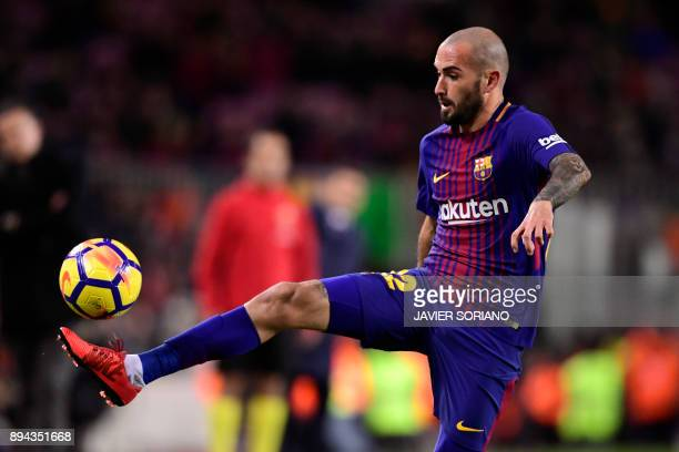 Barcelona's Spanish midfielder Aleix Vidal conrols the ball during the Spanish league football match FC Barcelona against RC Deportivo de la Coruna...