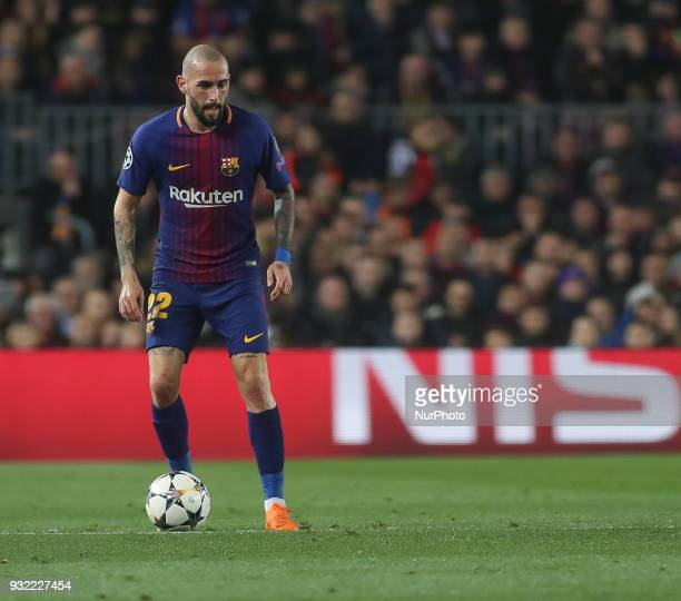Barcelona's Spanish midfielder Aleix Vidal controls the ball during the UEFA Champions League Round of 16 Second Leg match FC Barcelona and Chelsea...