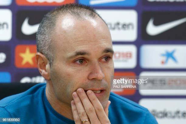 Barcelona's Spanish midfielder Andres Iniesta gives a press conference at the Joan Gamper Sports Center in Sant Joan Despi near Barcelona on April 27...