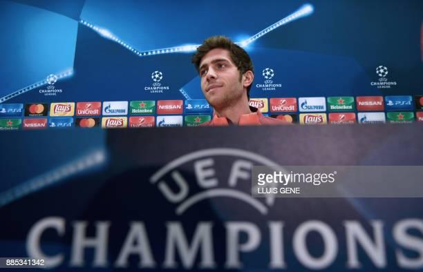 Barcelona's Spanish midfielder Sergi Roberto gives a press conference at the Sports Center FC Barcelona Joan Gamper in Sant Joan Despi on December 4...