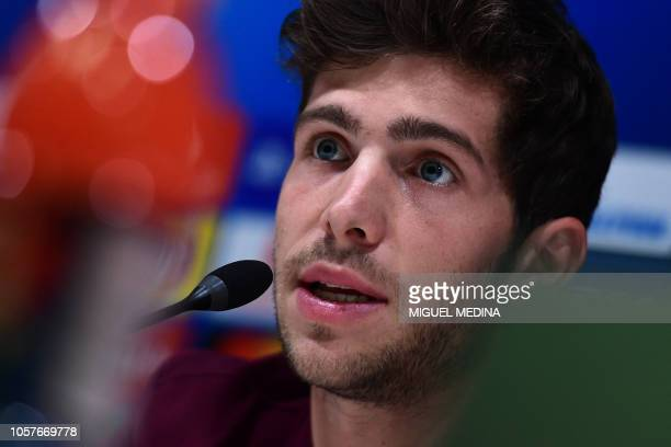 Barcelona's Spanish midfielder Sergi Roberto speaks during a press conference on November 5 2018 at San Siro stadium on the eve of the UEFA Champions...