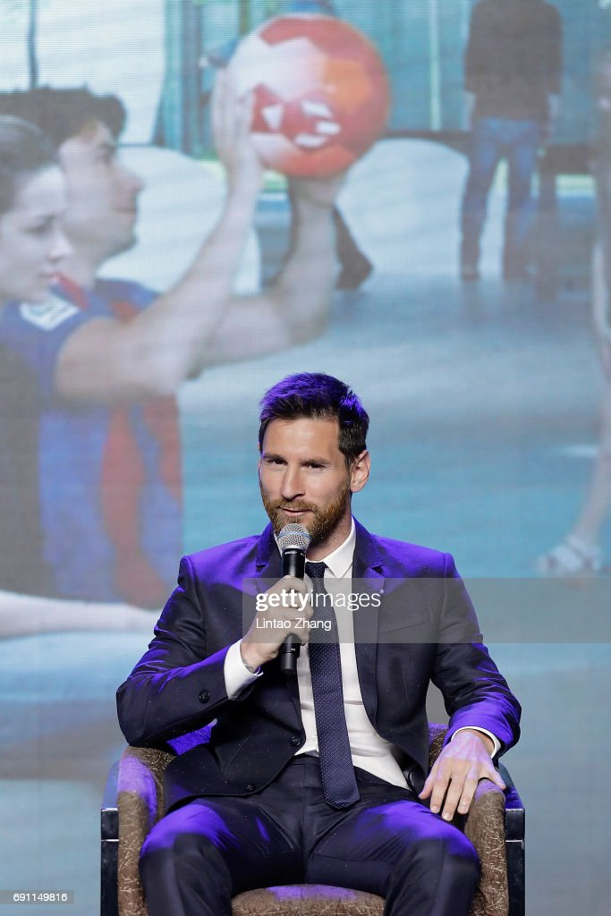 FC Barcelona's striker Lionel Messi speaks during a news conference at China World Trade Center Grand Hotel on June 1, 2017 in Beijing, China. Messi arrived in China to attend an event related to the Messi soccer Eco Experience Pavilion. The park is to be build in Nanjing and will be the largest theme park in the world.