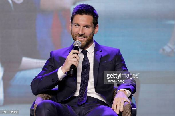 Barcelona's striker Lionel Messi speaks during a news conference at China World Trade Center Grand Hotel on June 1 2017 in Beijing China Messi...
