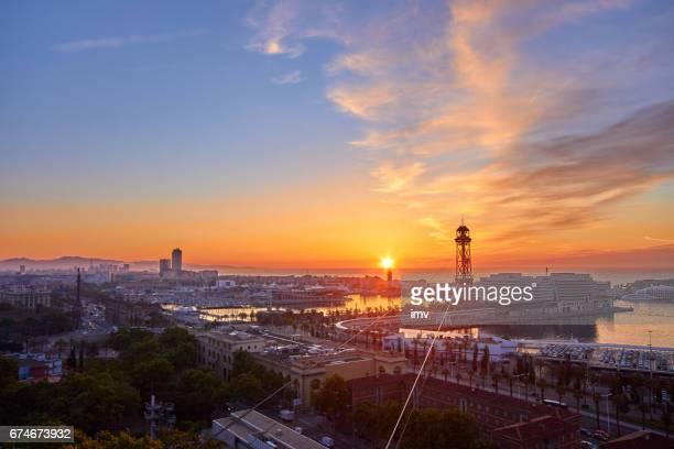 Barcelona's sunrise a clear day
