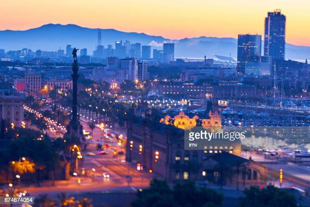 barcelona's sunrise a clear day - tibidabo stock pictures, royalty-free photos & images