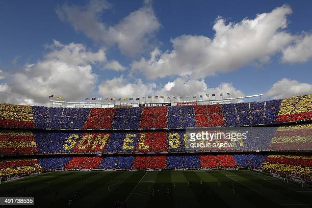 FC Barcelona's supporters form the sentence 'We are Barca' prior to the Spanish league football match FC Barcelona vs Club Atletico de Madrid at the...