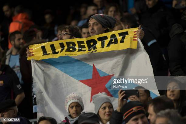 Barcelona's supporterts show proindependence flags during the spanish Copa del Rey match between FC Barcelona and Celta de Vigo at the Camp Nou...