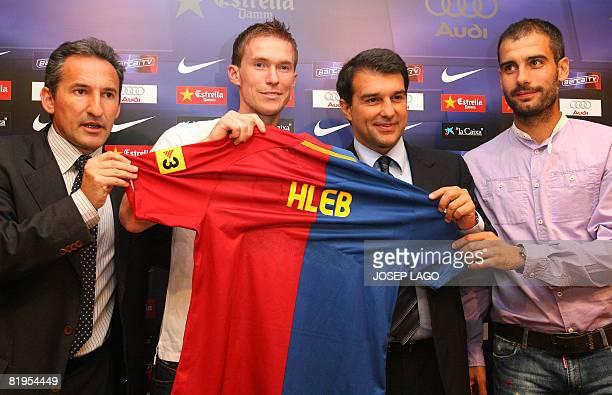Barcelona's technical director Txiki Begiristain Belarus international midfielder Alexander Hlebthe club's president Joan Laporta and coach Pep...