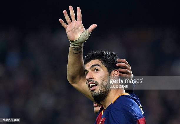 TOPSHOT Barcelona's Uruguayan forward Luis Suarez celebrates a goal during the Spanish Copa del Rey football match FC Barcelona vs Valencia CF at the...