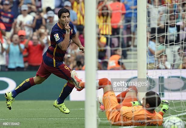 Barcelona's Uruguayan forward Luis Suarez celebrates after scoring a goal during the Spanish league football match FC Barcelona vs UD Las Palmas at...