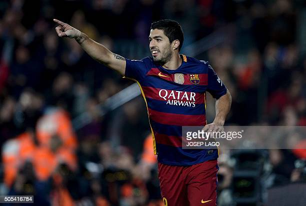 Barcelona's Uruguayan forward Luis Suarez celebrates his goal during the Spanish league football match FC Barcelona vs Athletic Club Bilbao at the...