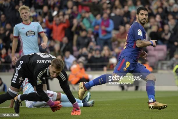 Barcelona's Uruguayan forward Luis Suarez celebrates his goal during the Spanish league football match between FC Barcelona vs Celta Vigo at the Camp...
