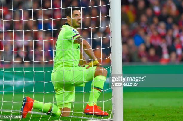 Barcelona's Uruguayan forward Luis Suarez gestures during the Spanish league football match Athletic Club Bilbao against FC Barcelona at the San...