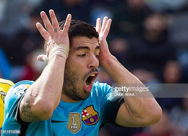 Barcelona's Uruguayan forward Luis Suarez gestures during the Spanish league football match UD Las Palmas vs FC Barcelona at the Gran Canaria stadium...